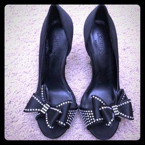 NWOT Sz 6.5 David bridal open toed black heels